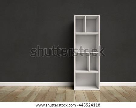 Letter I shaped shelves 3d rendering