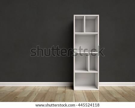 Letter I shaped shelves 3d rendering - stock photo