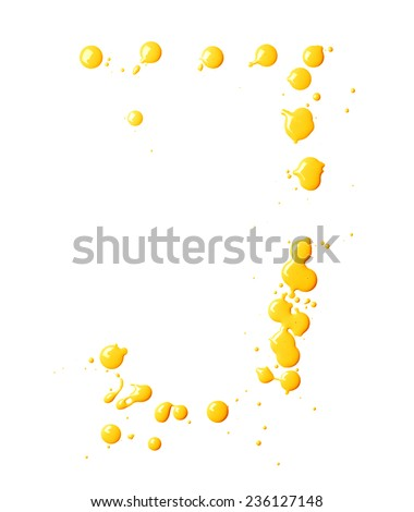 Letter J character made with the oil paint drops and spills, isolated over the white background