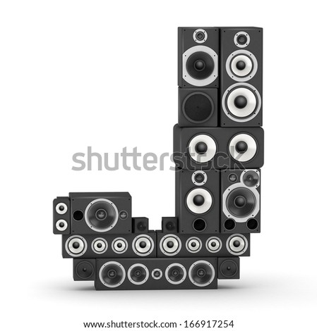 Letter J from black hi-fi speakers sound systems - stock photo