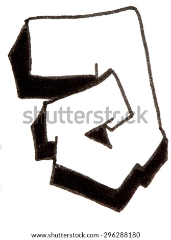 Letter J, hand drawn alphabet in graffiti style with a black fiber tip pen - stock photo