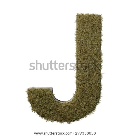 Letter J made of dead grass, growing on wood with metal frame - stock photo