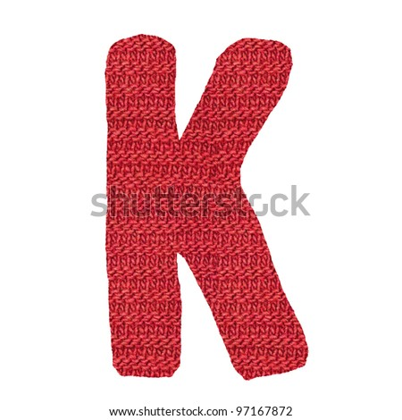 letter K alphabet, knitted spokes structure - stock photo