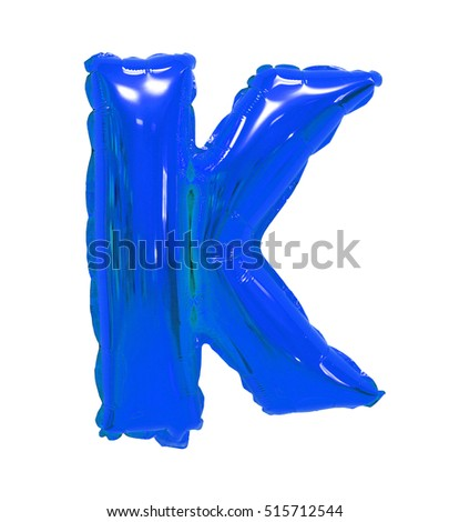 Letter K English alphabet blue of balloons on a white background