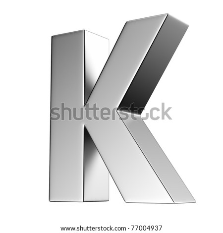 Letter K from chrome solid alphabet. There is a clipping path - stock photo