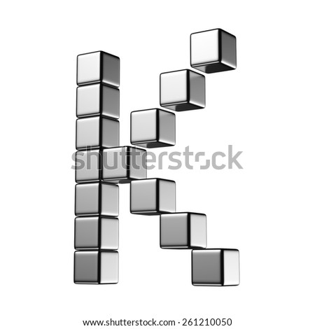 Letter K from digital cube middle perspective alphabet. There is a clipping path - stock photo