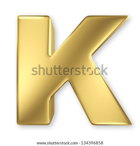 K Letter In Gold Letter K from gold solid alphabet - stock photo