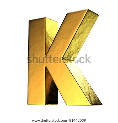 K Letter In Gold Letter K from gold solid alphabet. There is a clipping path - stock ...