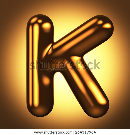 Letter K from round pure gold alphabet. There is a clipping path. The background is presented as an example. It can be replaced - stock photo
