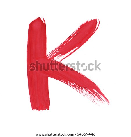 Letter K handwritten paint stroke sketch. Red Isolated on white background. One from collection set.