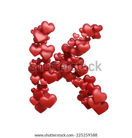 S Alphabet In Heart Wallpaper Letter K. Healt alphabet isolated on white. Red Lovely heart font. A ...