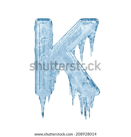 Letter K. Ice font isolated on white background. Alphabet. - stock photo