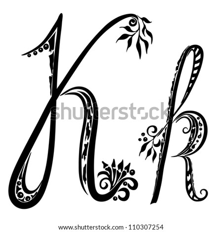 Letter K k in the style of abstract floral pattern on a white background - stock photo
