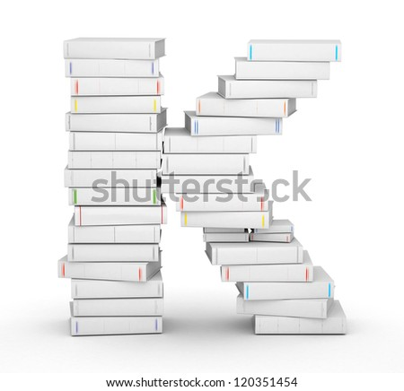 Letter K, stacked from many blank title books in column - stock photo