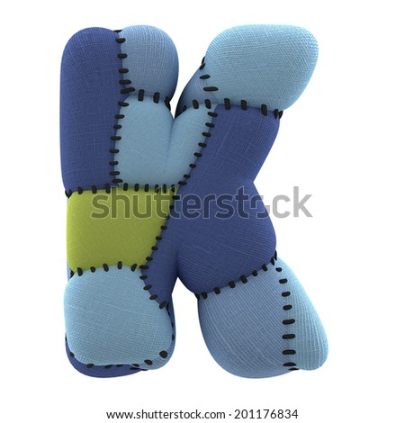 Letter K. Textile toy font  isolated on White Background. - stock photo