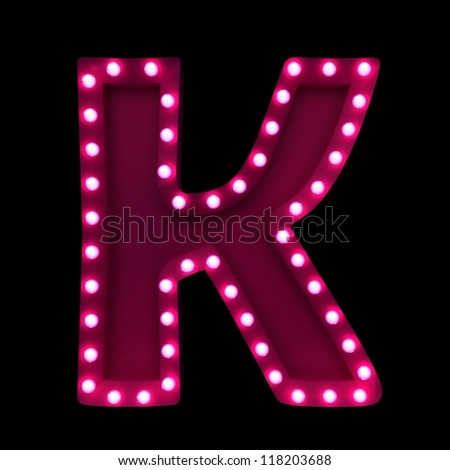 letter K with neon lights isolated on black background - stock photo