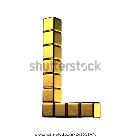 Letter L from big cube gold perspective alphabet. There is a clipping path - stock photo