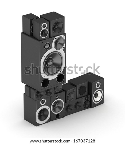 Letter L from black hi-fi speakers sound systems  in isometry - stock photo