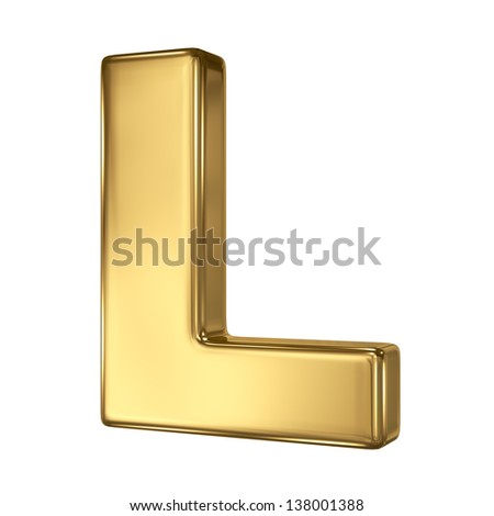 Letter L from gold solid alphabet