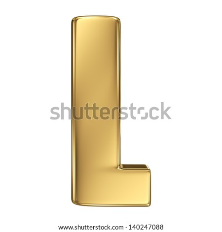 Letter L from gold solid alphabet. - stock photo