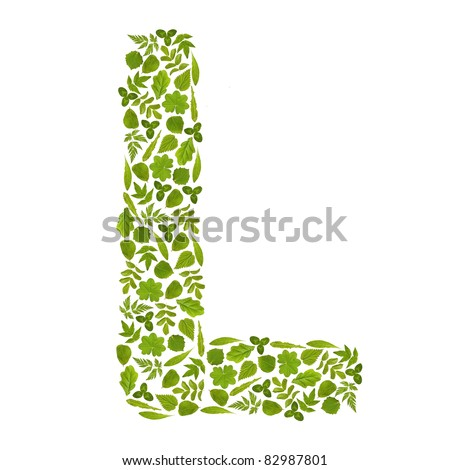 Letter L from green leafs - stock photo