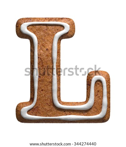 Letter L. Gingerbread font. Christmas cookies alphabet. - stock photo