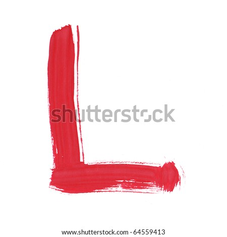 Letter L handwritten paint stroke sketch. Red Isolated on white background. One from collection set. - stock photo