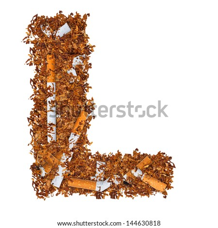 Letter L made of cigarettes and dried smoking tobacco