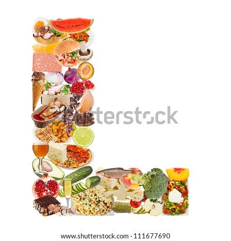 Letter L made of food isolated on white background - stock photo