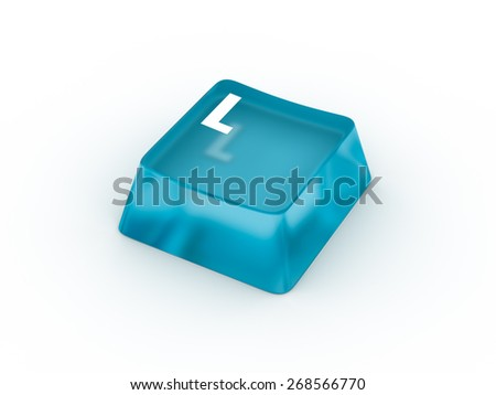 Letter L on transparent keyboard button - stock photo