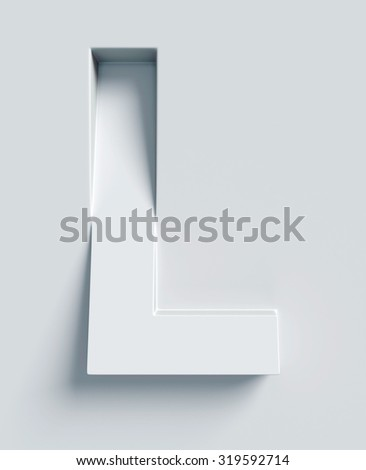 Letter L slanted 3d font engraved and extruded from the surface