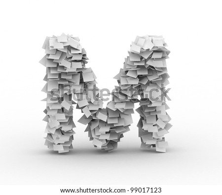 Letter M,alphabet from paper sheets in stack