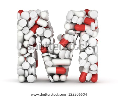 Letter M, alphabet of medicine pills - stock photo