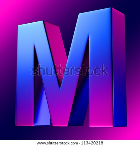 Letter M from blue-magenta solid alphabet. There is a clipping path - stock photo