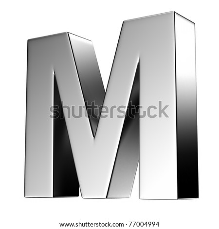 Letter M from chrome solid alphabet. There is a clipping path - stock photo