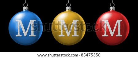Letter M from cristmas ball alphabet. There is a clipping path - stock photo