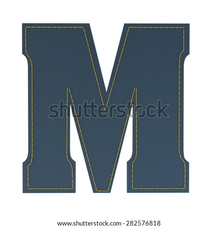 letter M from denim - jeans, on a white background, high specification of fabric, it is stitched by the yellow high-detailed threads - stock photo