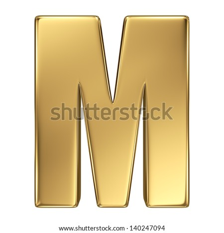 Letter M from gold solid alphabet. - stock photo