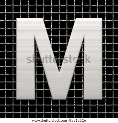 Letter M from metal net alphabet. There is a clipping path - stock photo