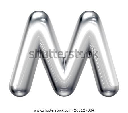 Letter M from round chrome alphabet. There is a clipping path - stock photo