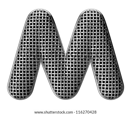 Letter M from round microphone style alphabet. There is a clipping path - stock photo