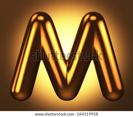 Letter M from round pure gold alphabet. There is a clipping path. The background is presented as an example. It can be replaced - stock photo