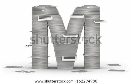 Letter M, from stacks of paper pages font - stock photo