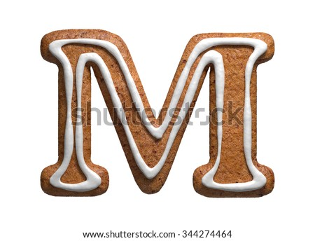 Letter M. Gingerbread font. Christmas cookies alphabet. - stock photo