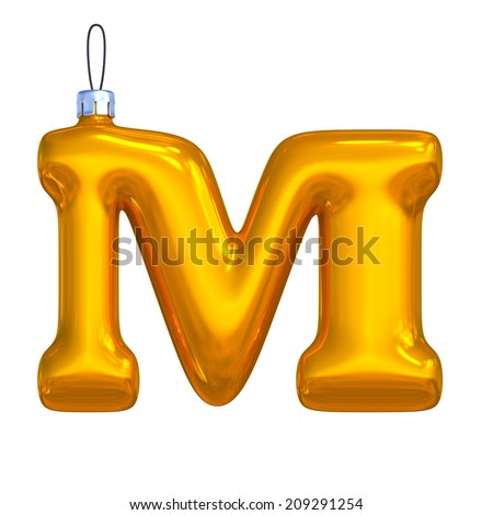 Letter M. Golden shining christmas ball. Alphabet isolated on white background. - stock photo