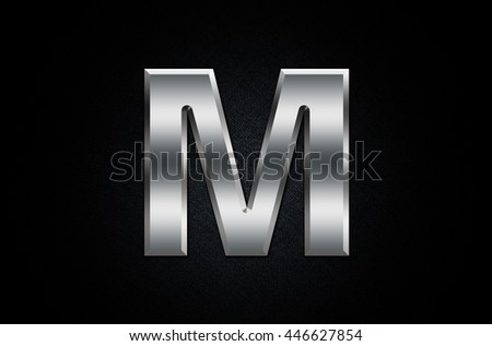 Letter M in 3D Chrome Metal - stock photo