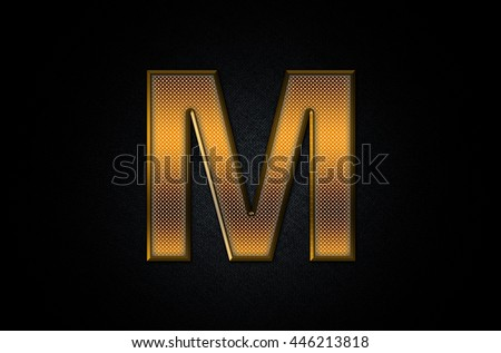 Letter M in 3D Gold Metal Texture - stock photo