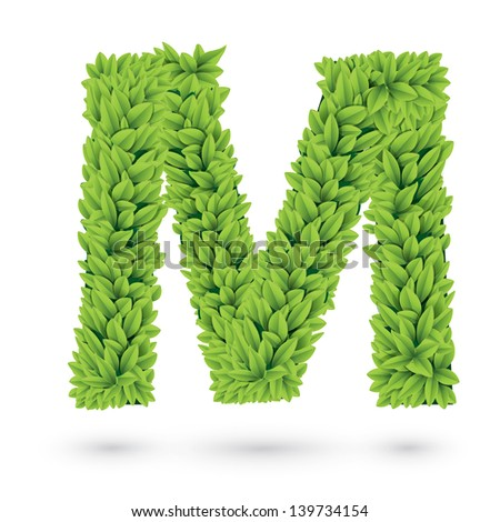 Letter M of green leaves