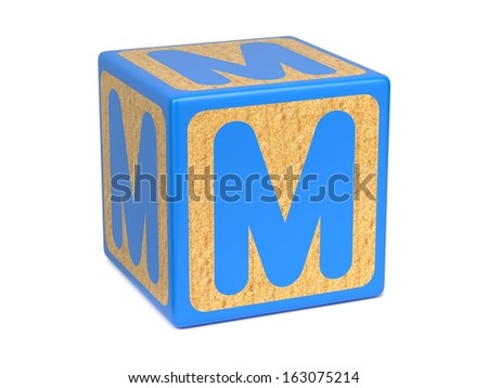 Letter M on Blue Wooden Childrens Alphabet Block  Isolated on White. Educational Concept. - stock photo