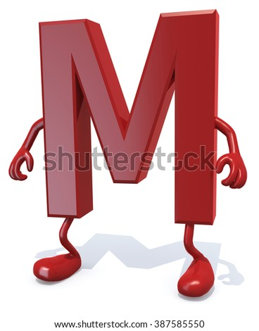 letter M with arms and legs posing, isolated on white 3d illustration - stock photo